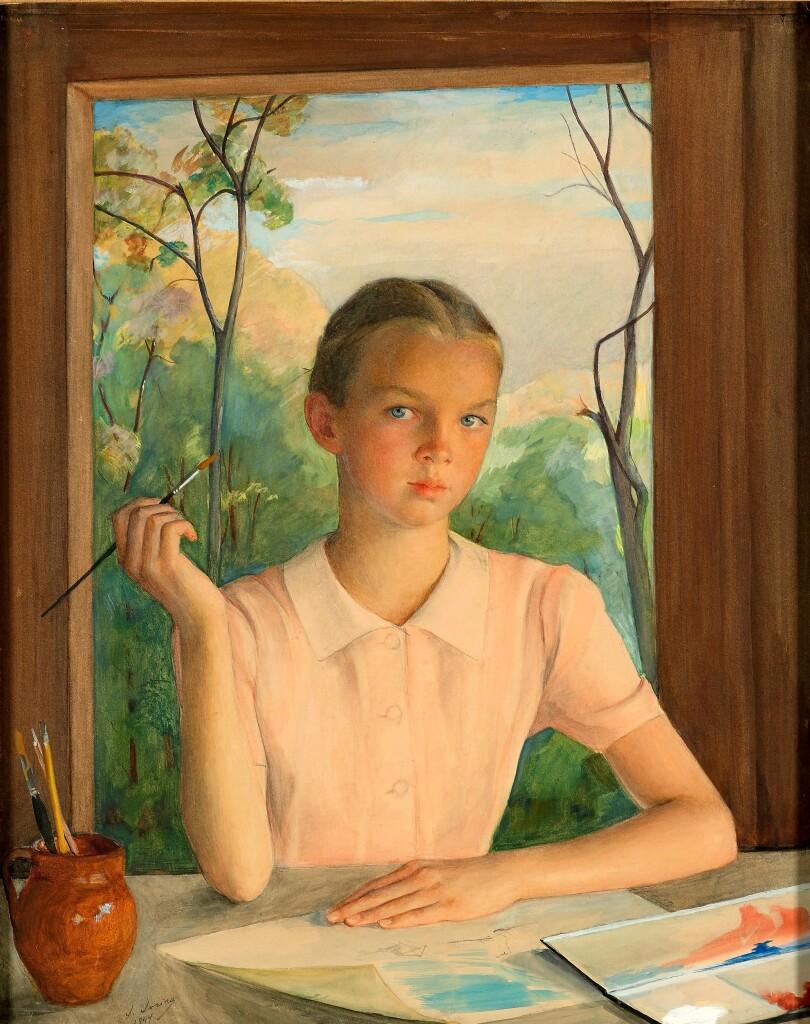 Портрет девочки-художницы. 1944 г. Бумага, смешанная техника. 90 Х 71. ГТГ