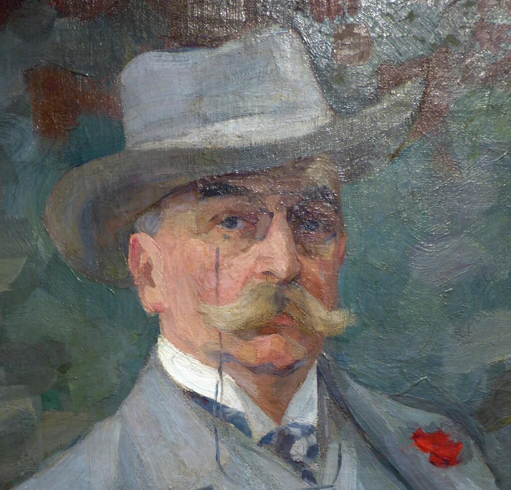 Портрет@ неизвестного в сером костюме. 1915.Холст, масло.. 117 х 87 Ярославский художественный  музей