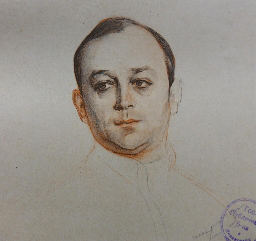 Портрет Л. В. Собинова (эскиз). 1914 г. Бумага, графитный, цветные и угольный карандаши, сангина