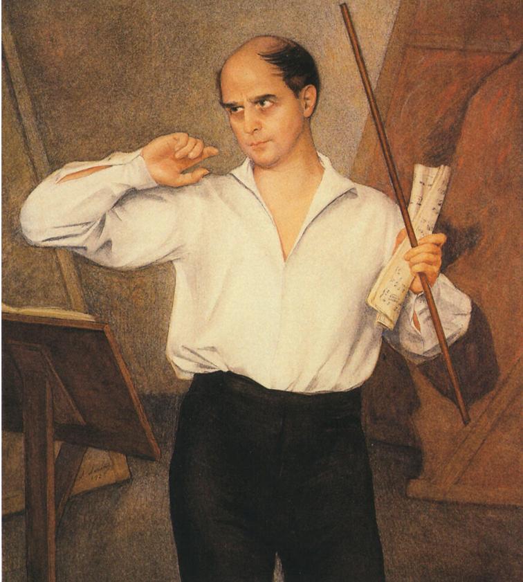 Портрет М. Фокина. 1928. Бумага, наклеенная на холст. Графитный карандаш, белила, пастель, лак. 120 Х 102. ГРМ