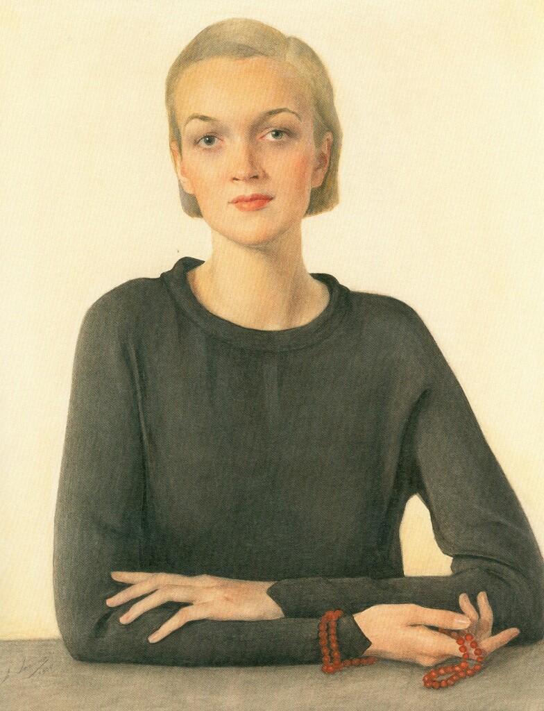 Женщина в черном (портрет Вирджинии Черрил). 1934 г. Холст, масло. 89 Х 73.  Журнал  «Town & Сountry» 15.02.1935. Княжеская коллекция. Монако