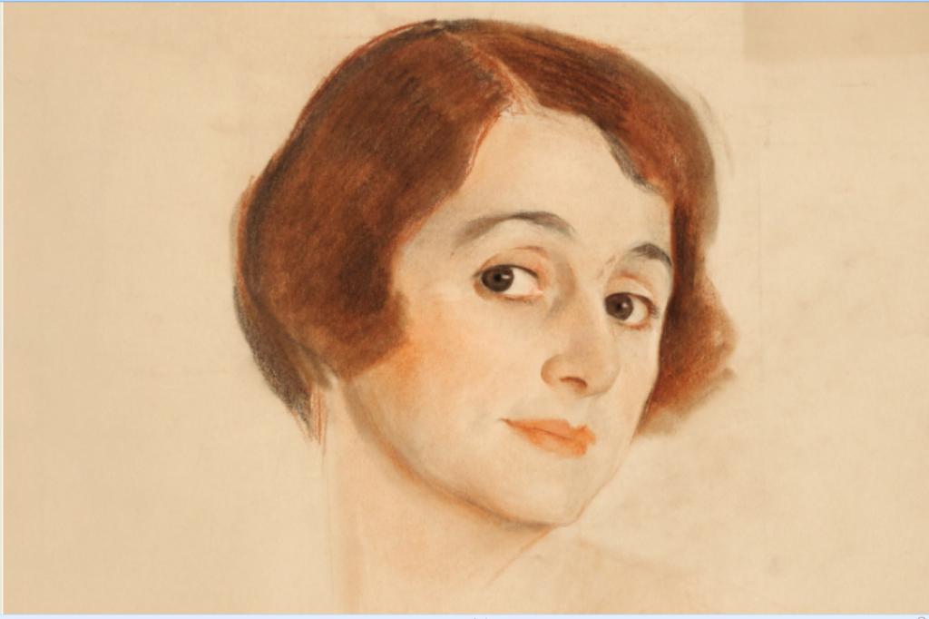 Портрет неизвестной 1 (Елены Комиссаржевской?) среди восьми штудий портретов на большом листе бумаги. Смешанная техника. Фрагмент