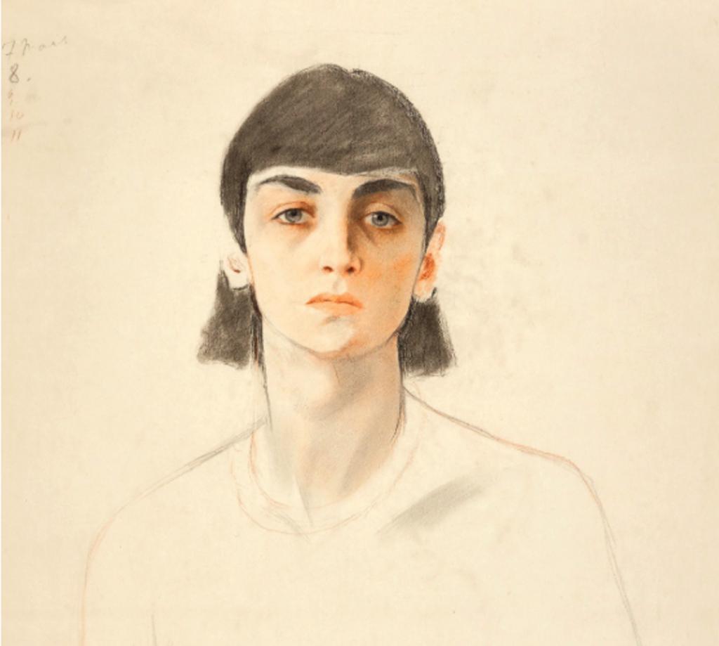 Портрет неизвестной 2 среди восьми штудий портретов на большом листе бумаги. Смешанная техника. Фрагмент
