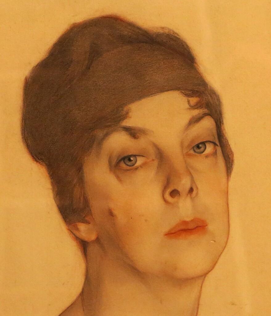 Портрет княгини  Ольги Орловой. 1917 г. Бумага, наклеенная на коленкор, графитный карандаш, сангина, белила, акварель. 95 Х 77. Фрагмент. ГРМ
