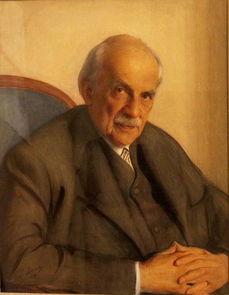 Портрет Александра Бенуа. 1946 г.Бумага, наклеенная на холст, акварель, графитный карандаш, белила. 72 Х 59. ГРМ
