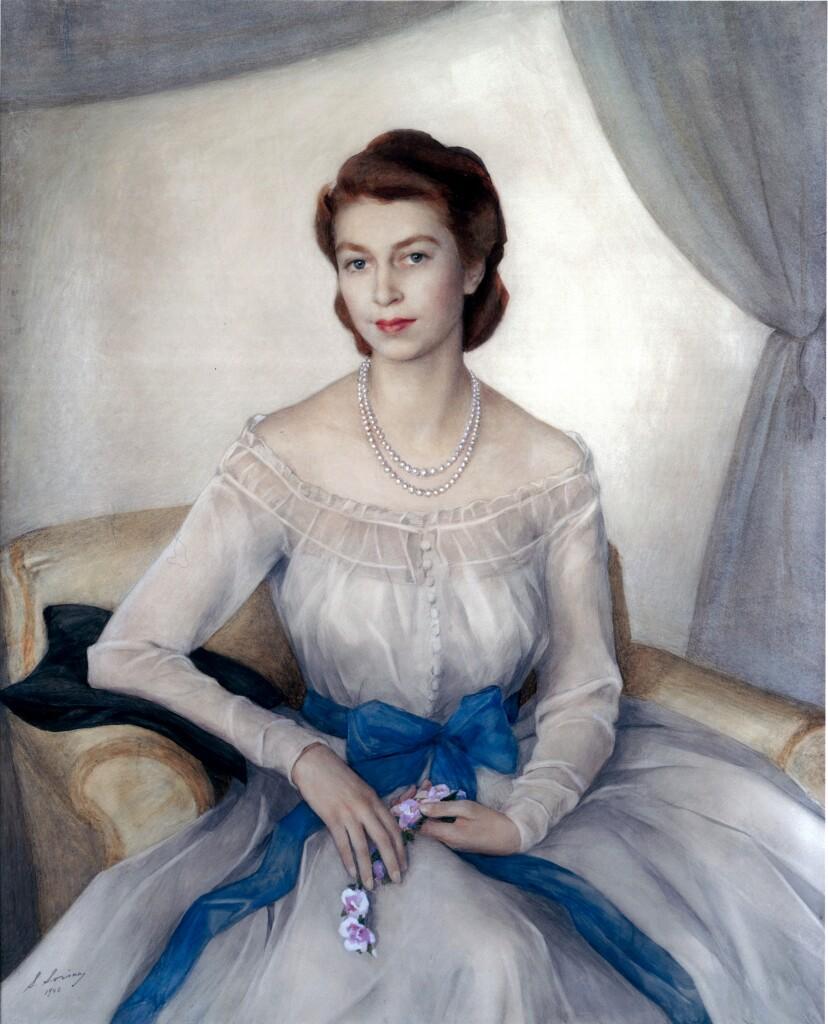 Принцесса Елизавета — сейчас королева Великобритании Елизавета II. 1948 г. Бумага, наклеенная на холст, акварель. 133 Х 112. Кларенс-хаус. Лондон