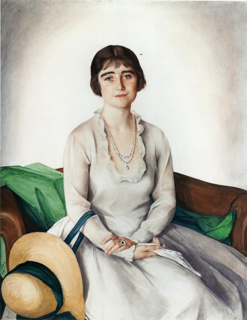 Портрет девушки со шляпой (Элизабет Бове Лайон - принцесса Йоркская. Позже королева Елизавета Английская, потом королева-Мать). 1923 г. Бумага, акварель. 133 Х 112. Кларенс-хаус. Лондон
