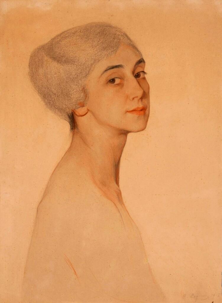 5.24 Портрет Т.Карсавиной  бум. паст. 56x42на доске  1915