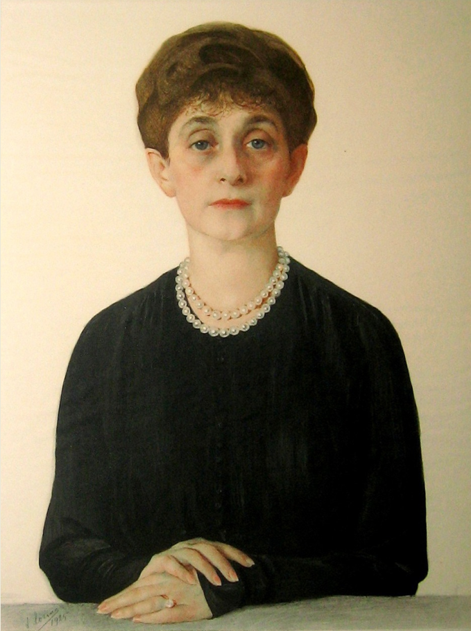 Портрет Аделаиды Кон. 1925. Бумага на холсте, графитный карандаш, угольный карандаш, белила, акварель. 72 Х 52.5