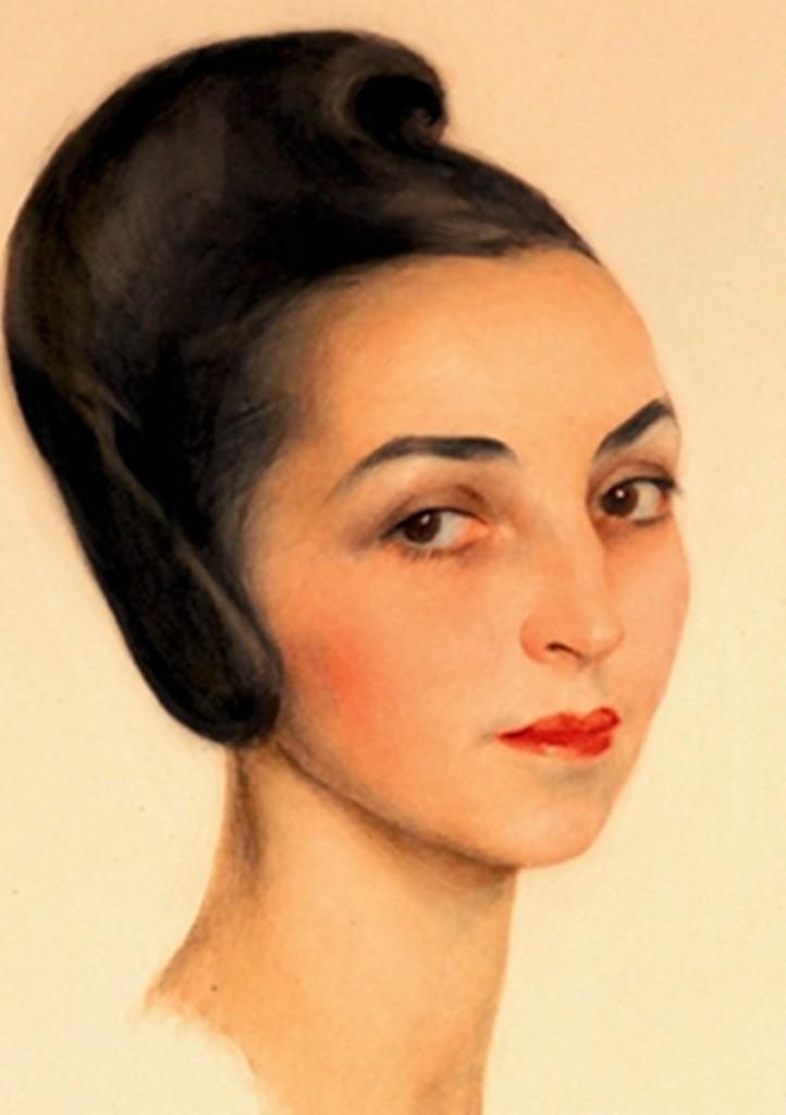 121.1 портрет миссис Розы Курт Штерн бум.акв.чернила, цвет. кар., мелки 54x43 1941