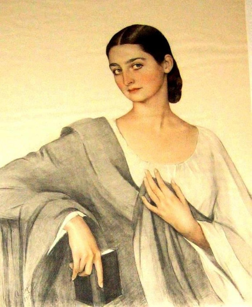 23Портрет княжны  Элисо Дадиани 1919 бум.акв.карандаш (авт. повтор.)Тбилиси( )