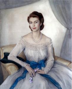48 Принцесса Елизавета- сейчас королева Великобритании 1948 бум. акв. 133x112  Кларенс-хаус Лондон