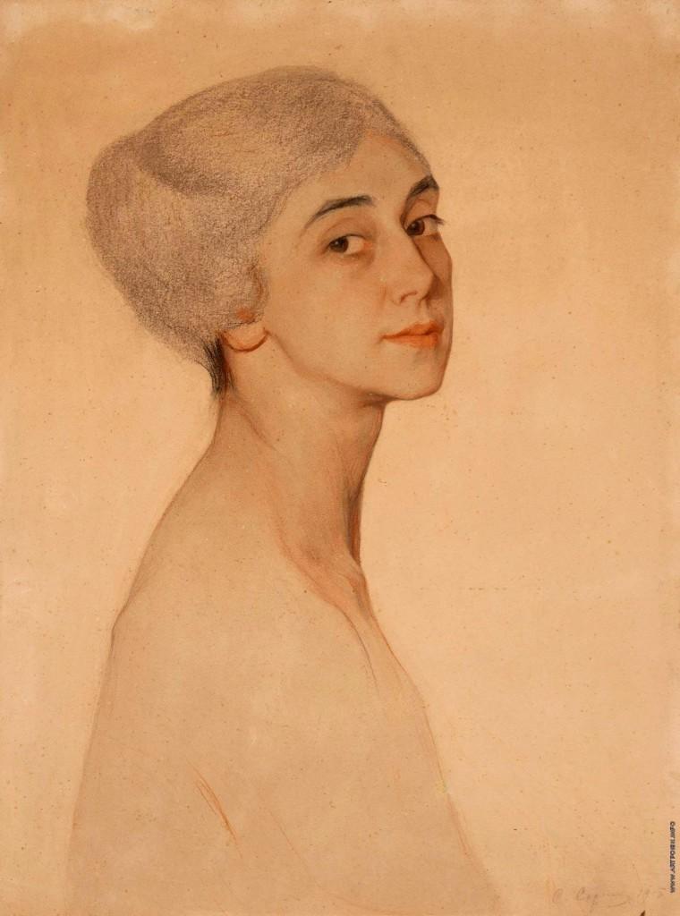 Портрет Т.Карсавиной  1915г. бум. паст. 56x42 на доске