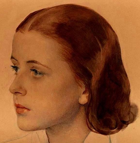 Портрет балерины Русского балета Монте-Карло Наталии Красовской1934бум.на х. акв. белила цв. кар.карандаш47x37( фрагмент)