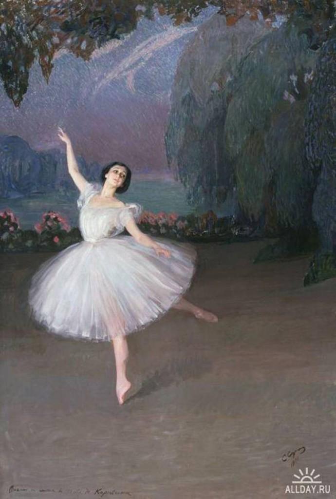 Тамара Карсавина в балете Сильфиды 1910 х. м. театр. музей А. Бахрушина Москва