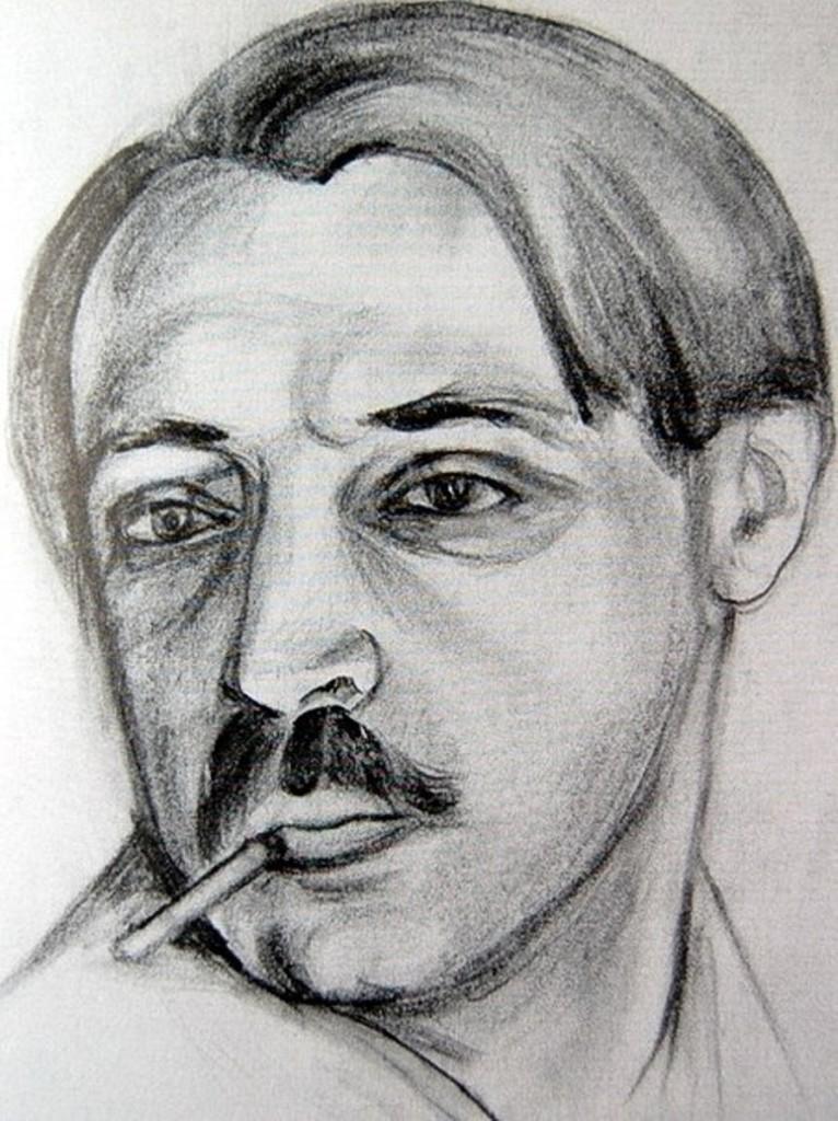 Автопортрет из альбома В. Судейкиной ок.1920г.бум.кар. акв.