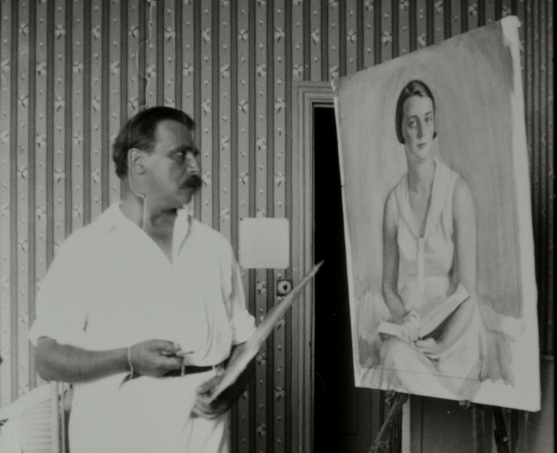 С. Сорин пишет портрет Г. Кузнецовой 1930 г.