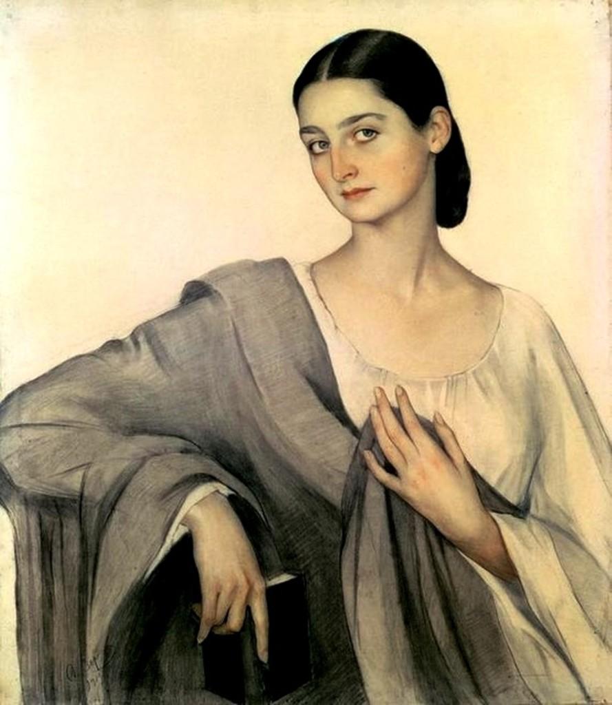 Портрет княжны  Элисо Дадиани 1919 бум. акв. карандаш. Тбилиси