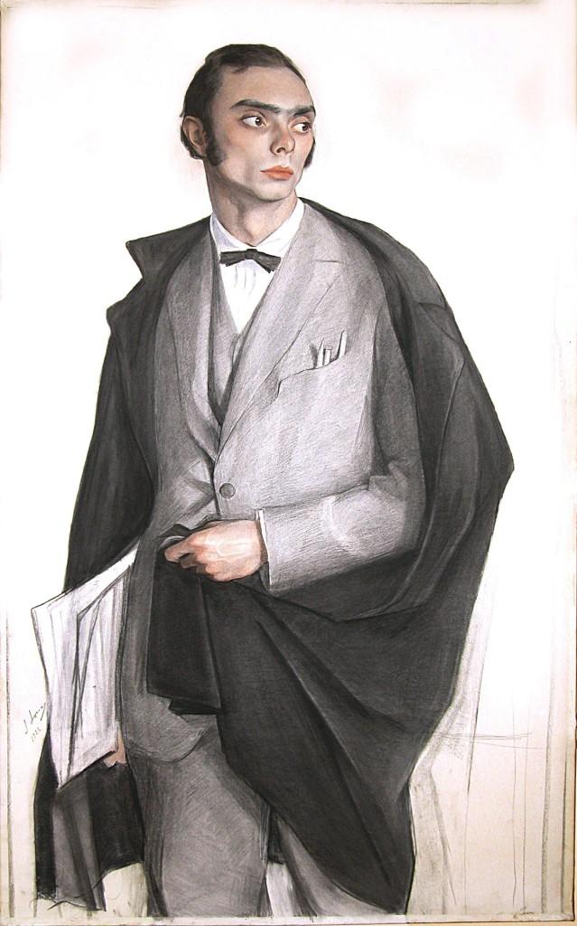 Портрет танцовщика и хореографа Л.Ф.Мясина 1922 бум.на х. смеш. техн. 133x80 Донецк