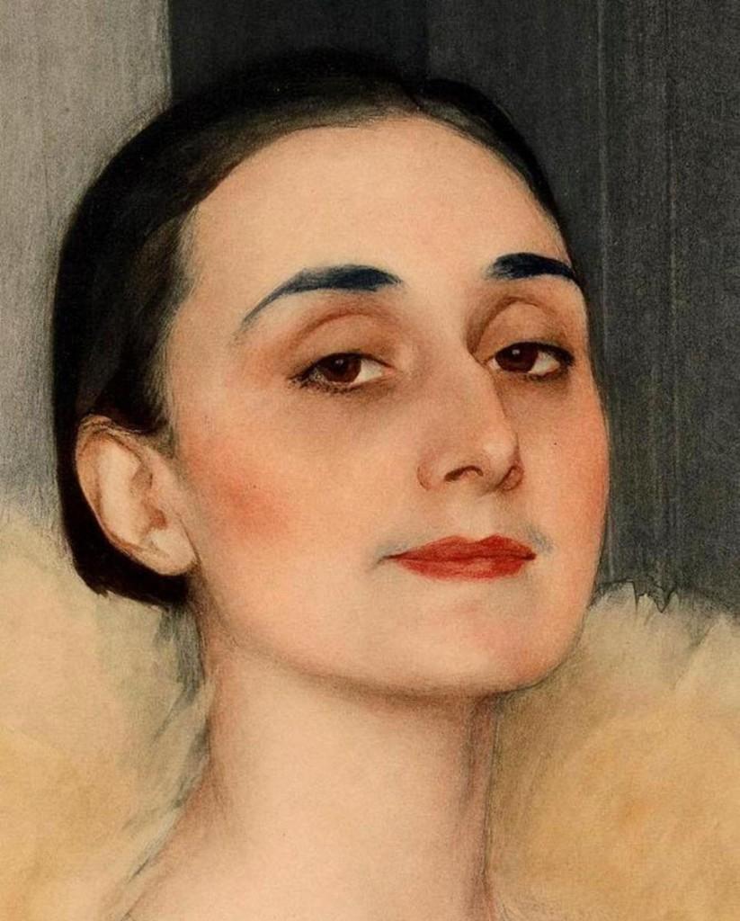 Княгиня Чолокаева-Мелита Чолокашвили 1927г. темпера на картоне 90x68 Музей Fine Art Тбилиси - фрагмент