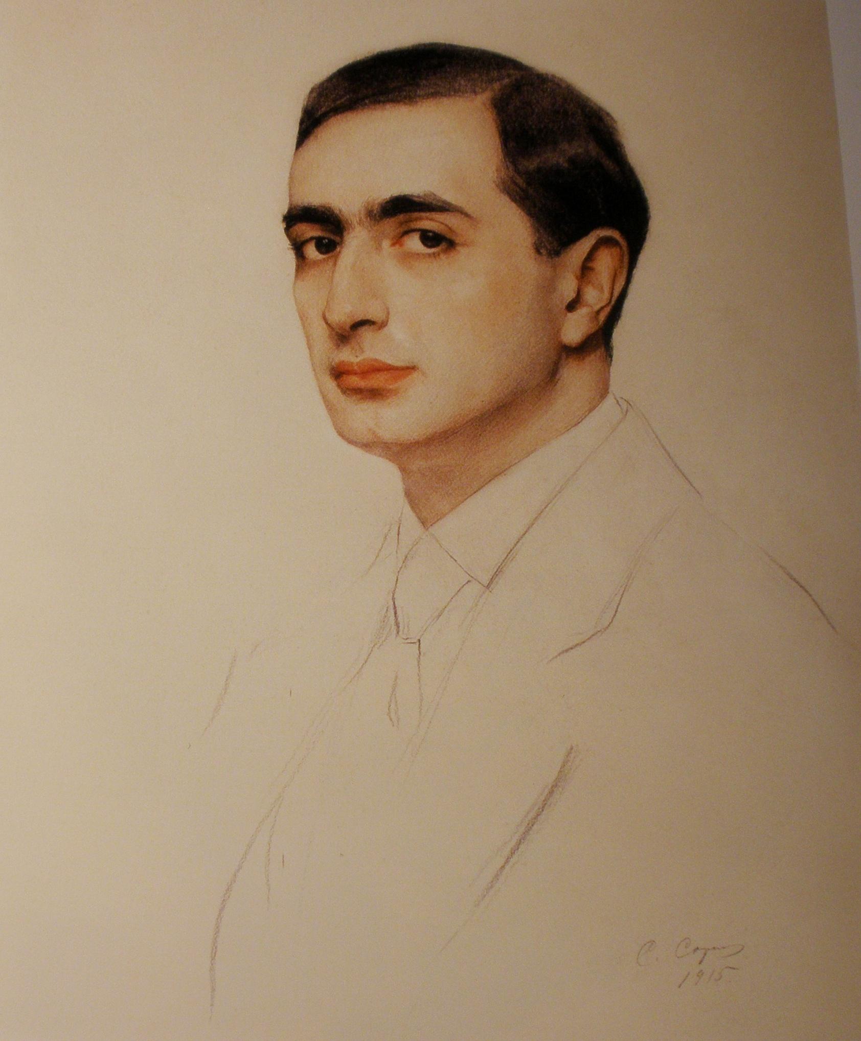 1 Портрет архитектора  М. И. Рославлева1915г.бум.,пастель47x67А.Х.Р 10131.
