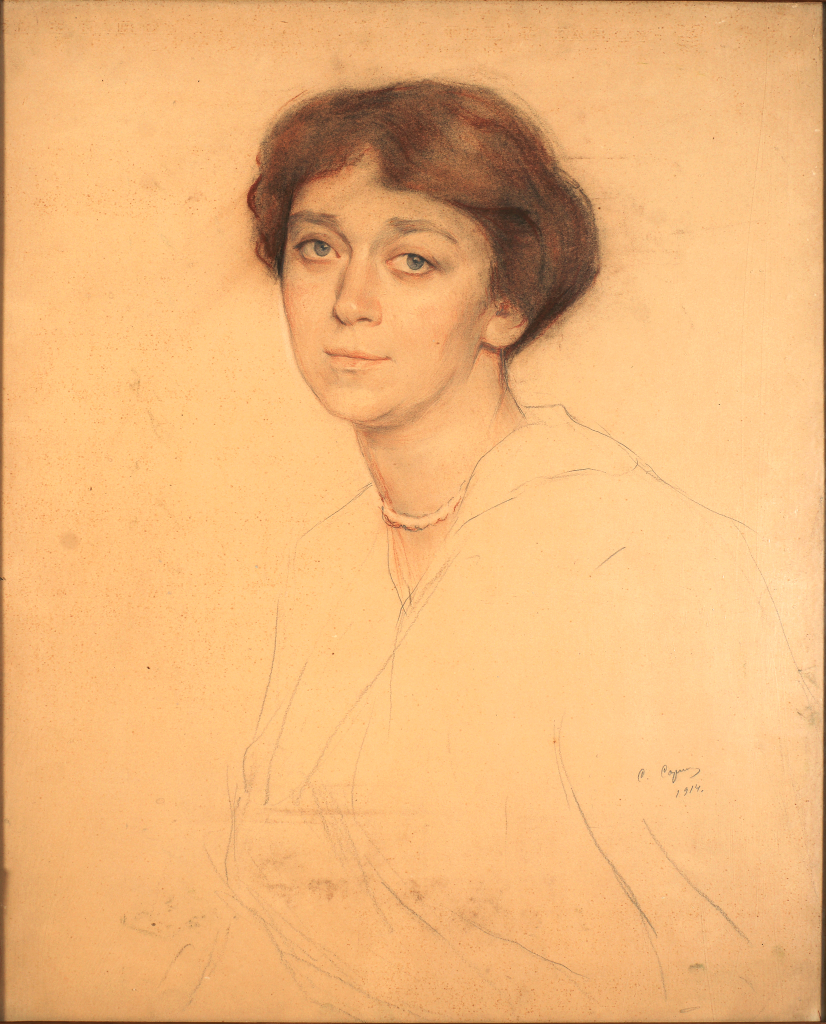 Портрет С. А. Брайкевич жены собирателя М. Брайкевича 1914 г. бум. пастель, акварель 14х51 Одесский художественный музей.