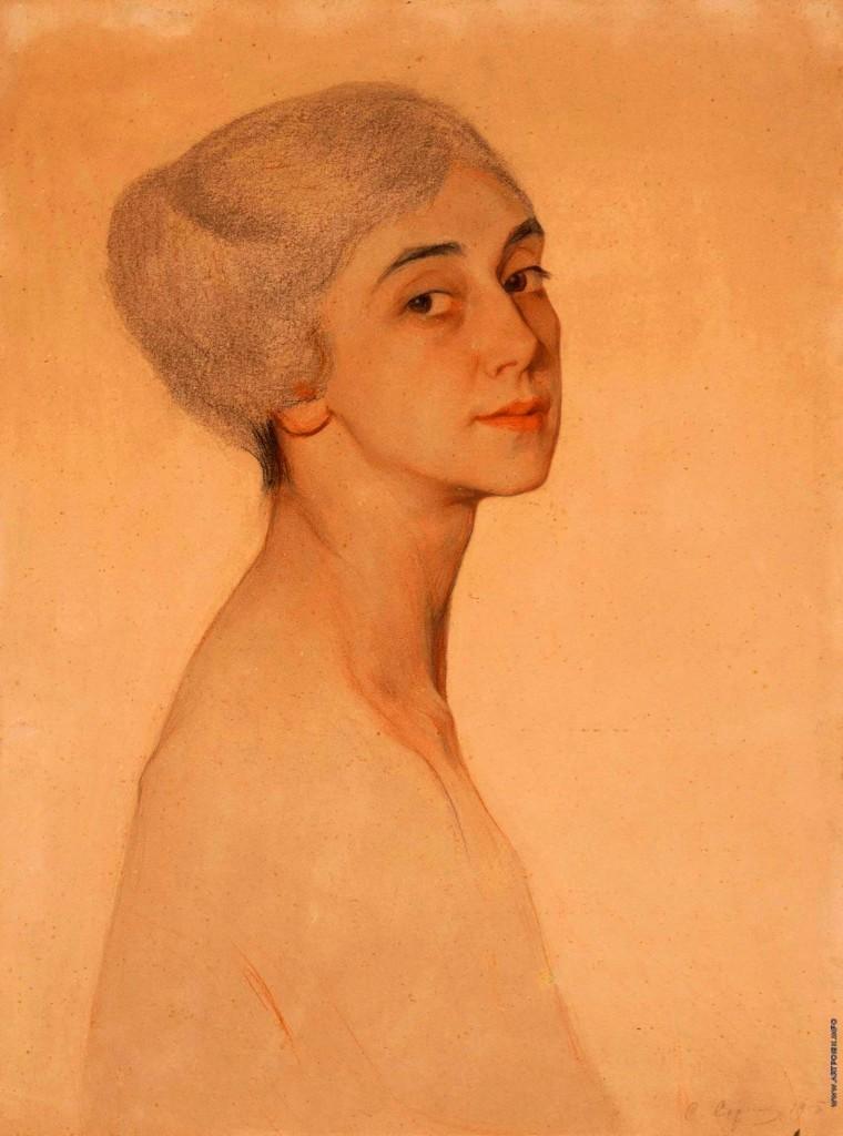 Портрет Т. Карсавиной бум. паст. 56x42 на доске  1915