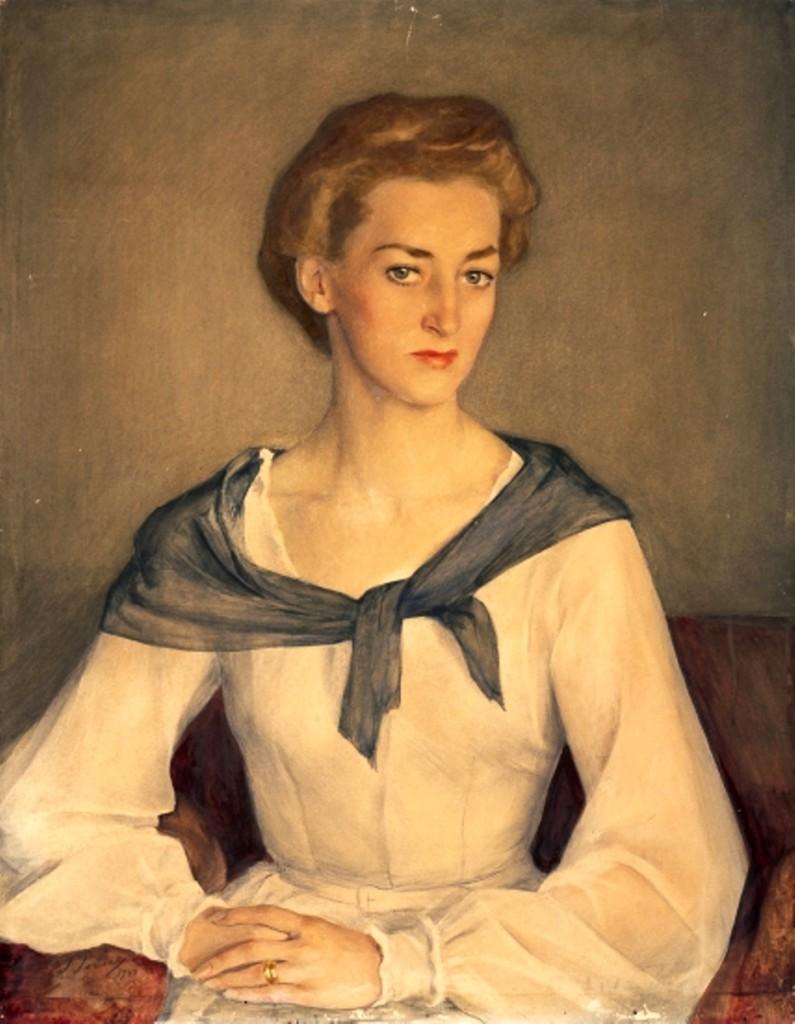 Портрет княгини Ирины Оболенской.1948 бум.на х. акв.кар. 80.5x  64.5