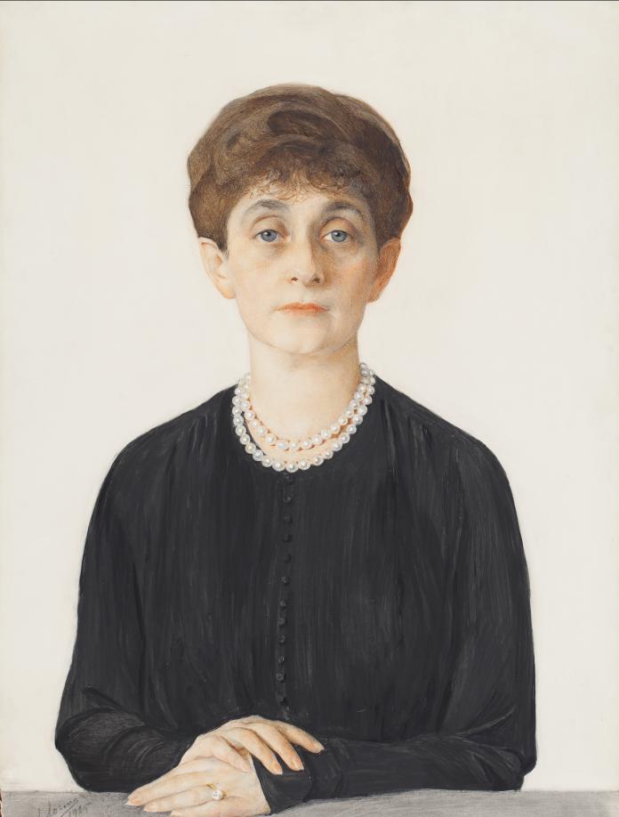 72.4 Портрет Аделаиды Кон 1925 бум. граф.кар. угольный кар. белила,акв. 72x52.5
