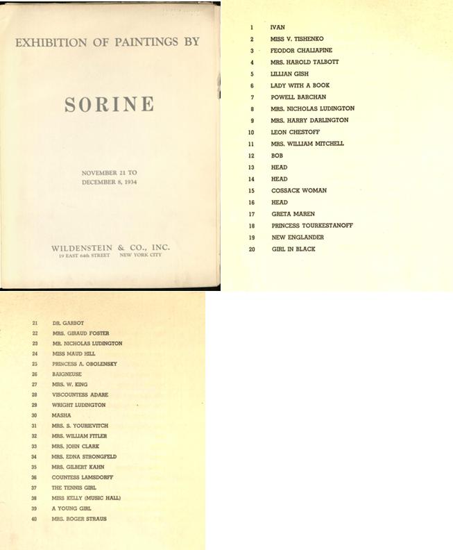 Обложка и страницы каталога выставки работ Савелия Сорина, Нью-Йорк, галерея «Wildenstein», 1934 г.