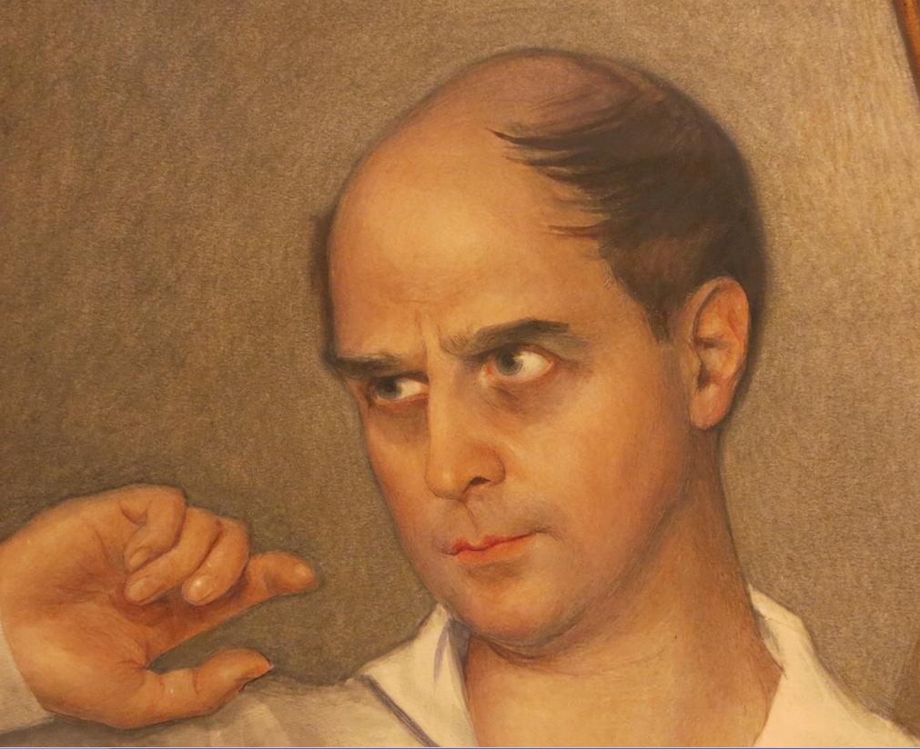 Портрет М. Фокина. 1928. Бумага, наклеенная на холст. Графитный карандаш, белила, пастель, лак. 120 Х 102. Фрагмент. ГРМ