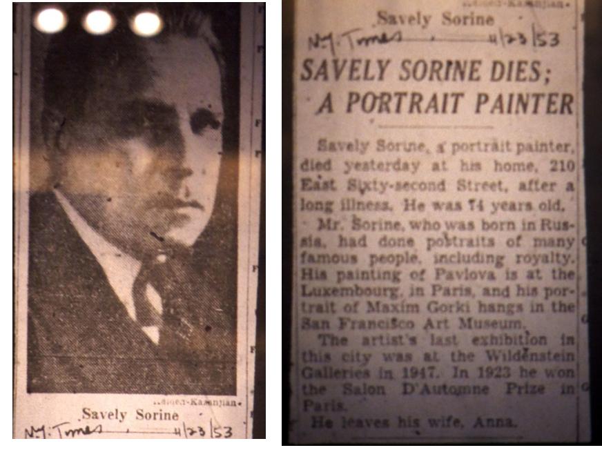 Некролог из «New-York Times», вышедшей утром 23. 11. 1953 г.