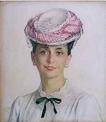 Портрет А. С. Сориной в шляпке. 1945. Холст, масло. Коллекция принца Монако. № 00793