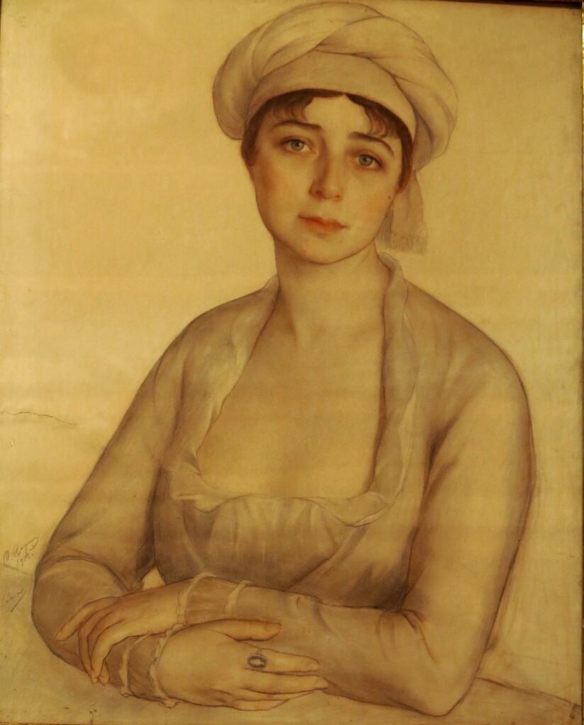 Портрет Веры Тищенко1918. бум. акв. цв. кар. 34x36.6
