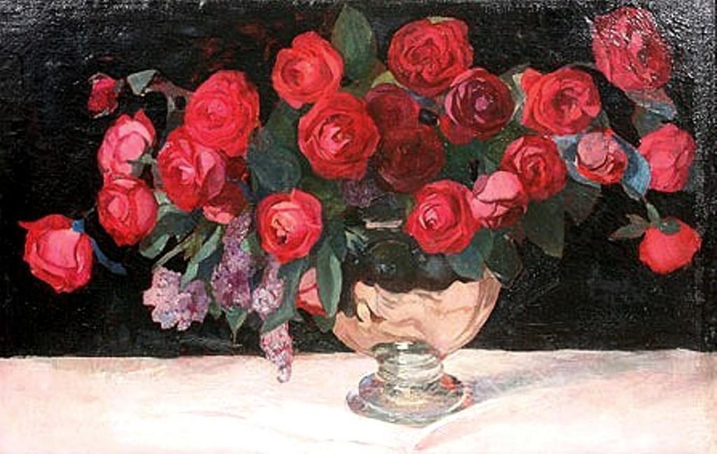 Натюрморт Розы с сиренью  х.м 60'5x93 1924г....