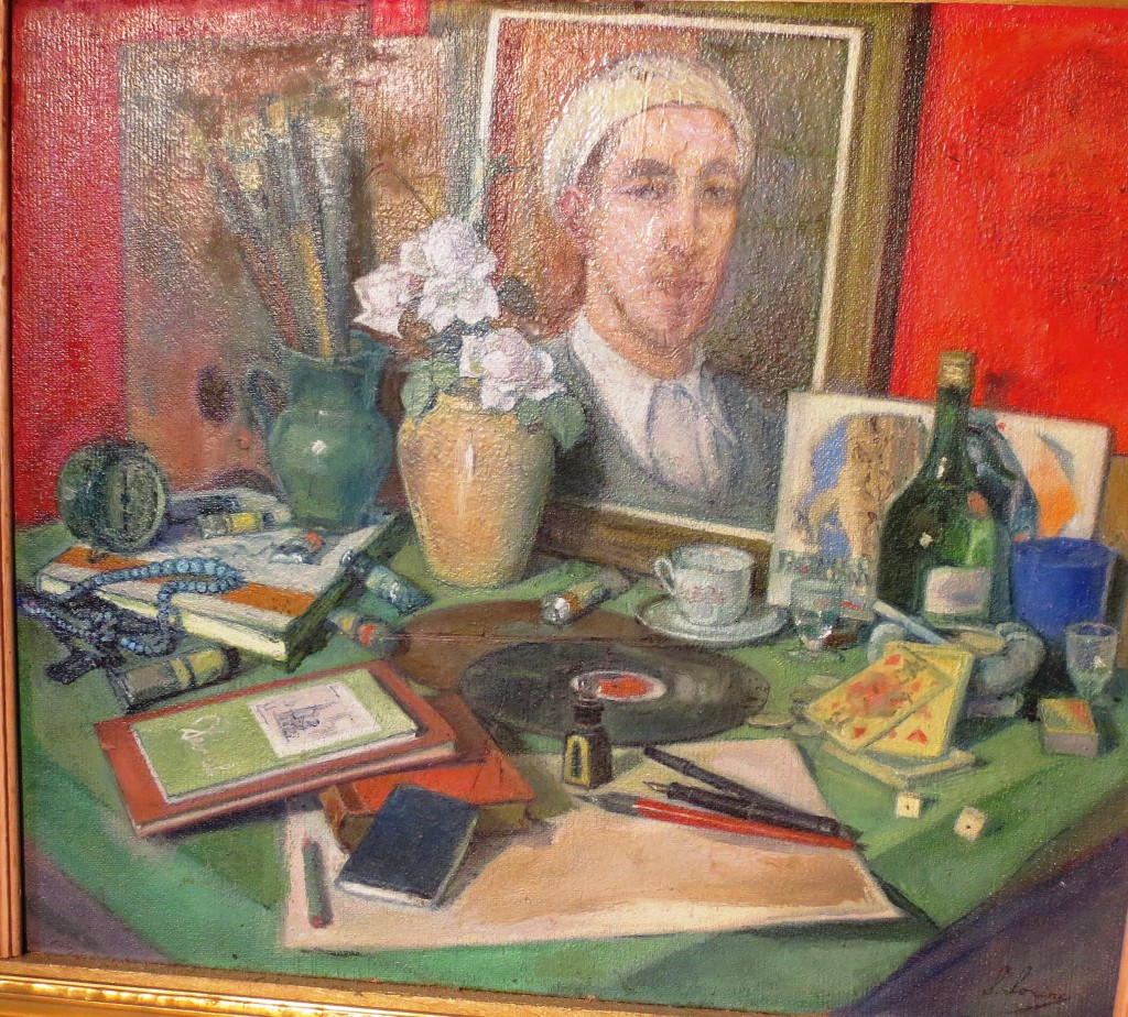 Натюрморт-Cтол художника с автопортретом -1920г.(1923 ) фанера м.60x69