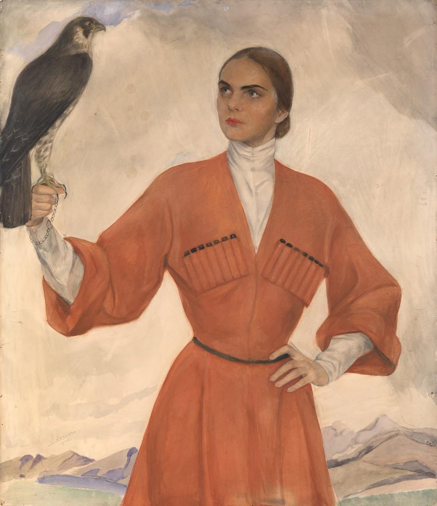 Девушка с соколом ( Лиз Алтемус - Типпет Уитни 89х76,5 бум. на х. кар. акв.