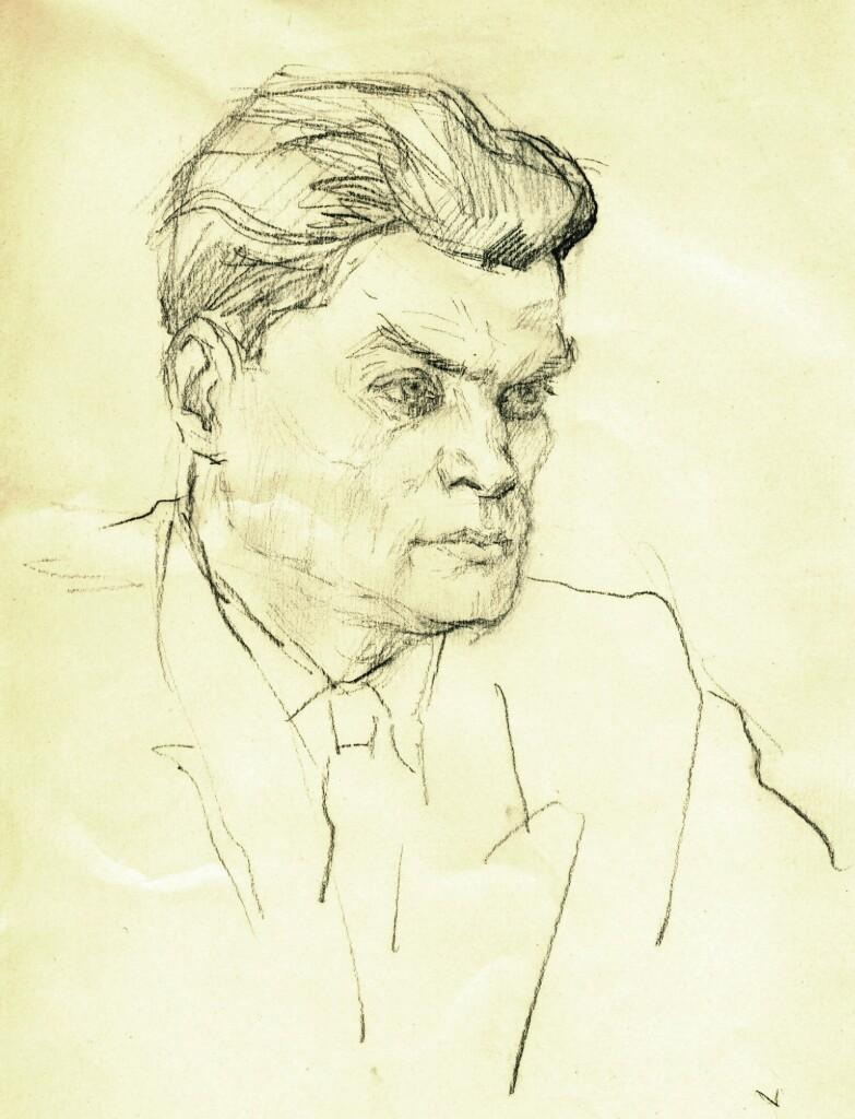 Портрет старшего сына С. А. Сорина Г. Б. Сорина, сделанный его( С. А.) внуком В. Г. Сориным. Бум, кар. 1954