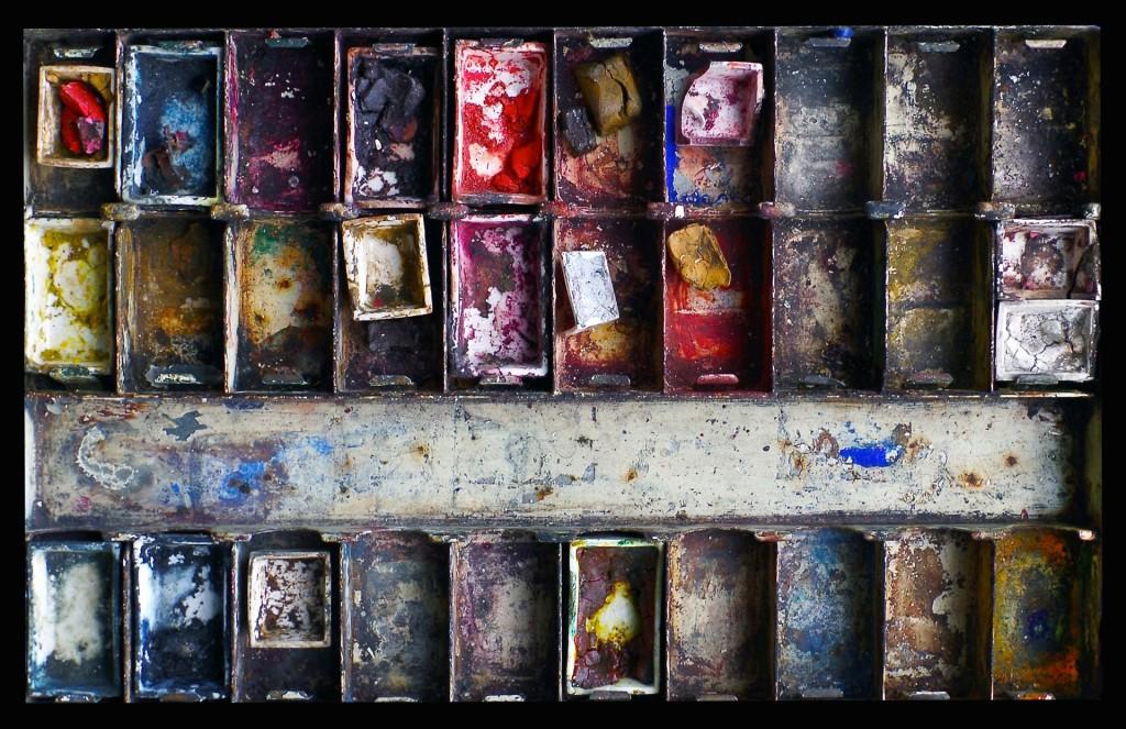 коробка акварели , оставшаяся после смерти С. Сорина