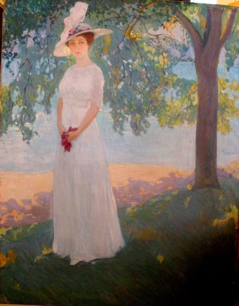 Портрет неизвестной под деревьями .1911 х.м. темпера,графит,гуашь136x106 ГРМ