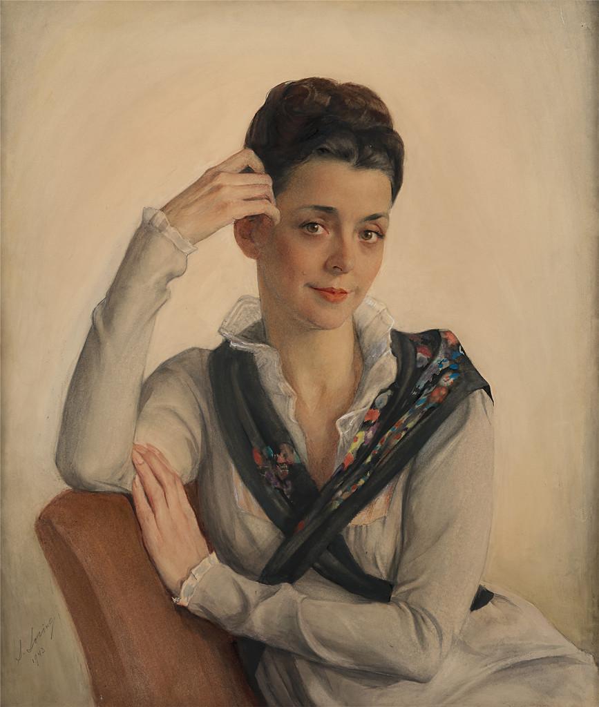 Портрет А.С.Сориной, жены художника. 1943. Бумага, наклеенная на холст, акварель,