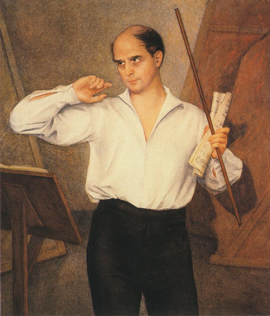 Портрет М. Фокина.1928. Бумага, наклеенная на холст.Графитный карандаш, акварель, белила, пастель, лак.120 Х 102. ГРМ