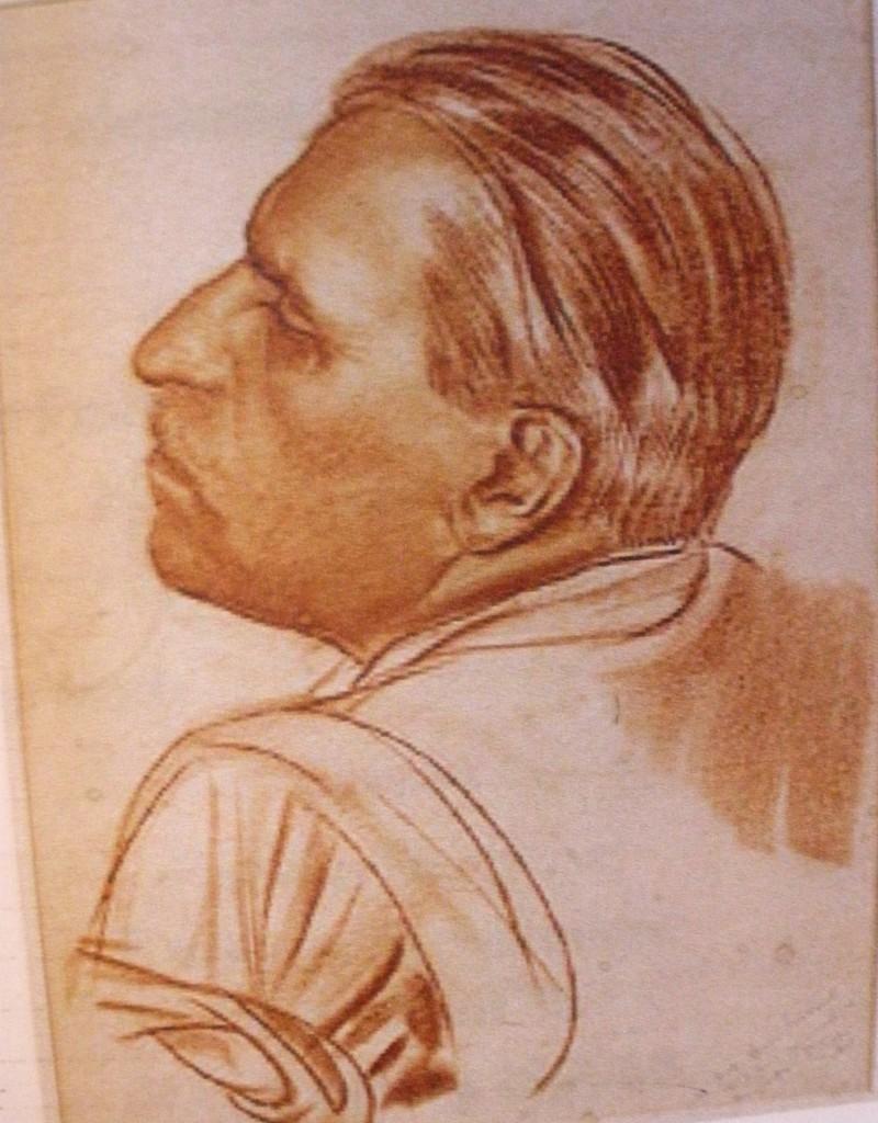 Автопортрет в профиль, бум., сангина, 1937