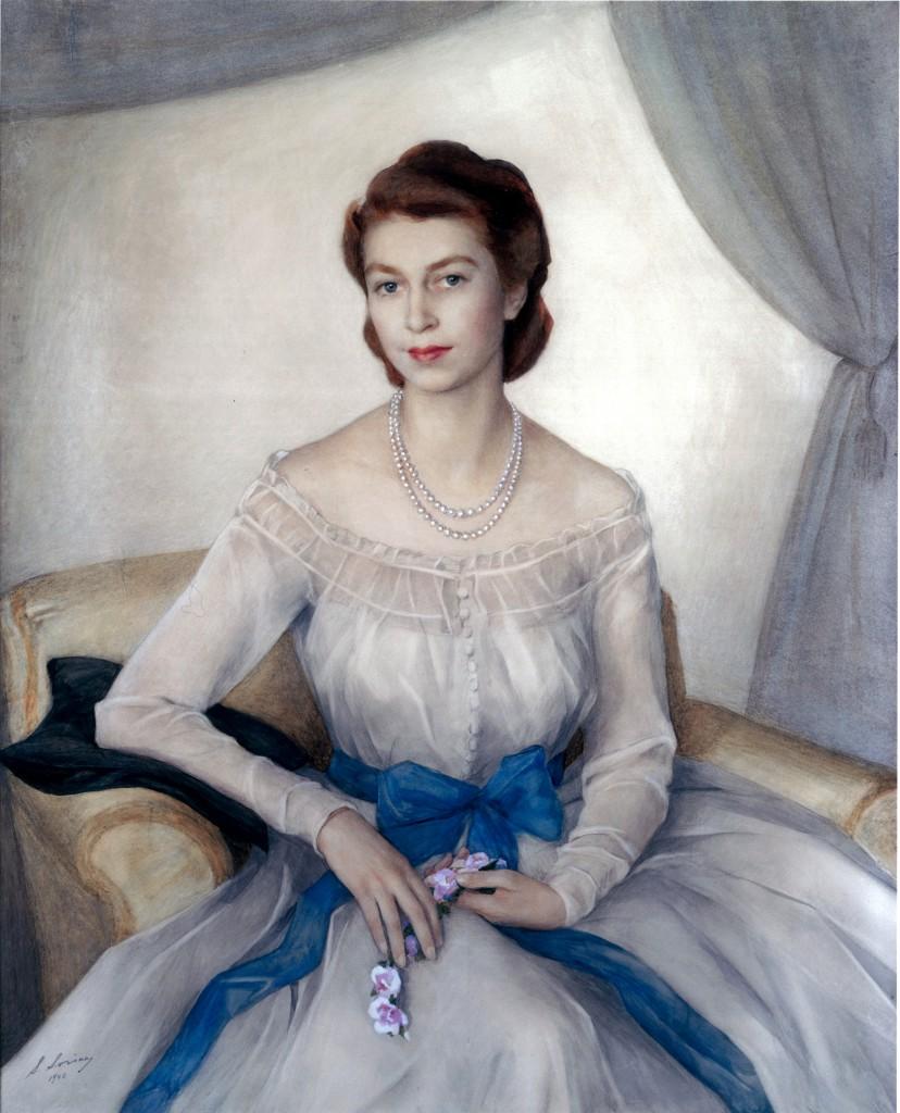 Принцесса Елизавета- сейчас королева Великобритании- 1948 бум. акв. 133x112  Кларенс-хаус Лондон