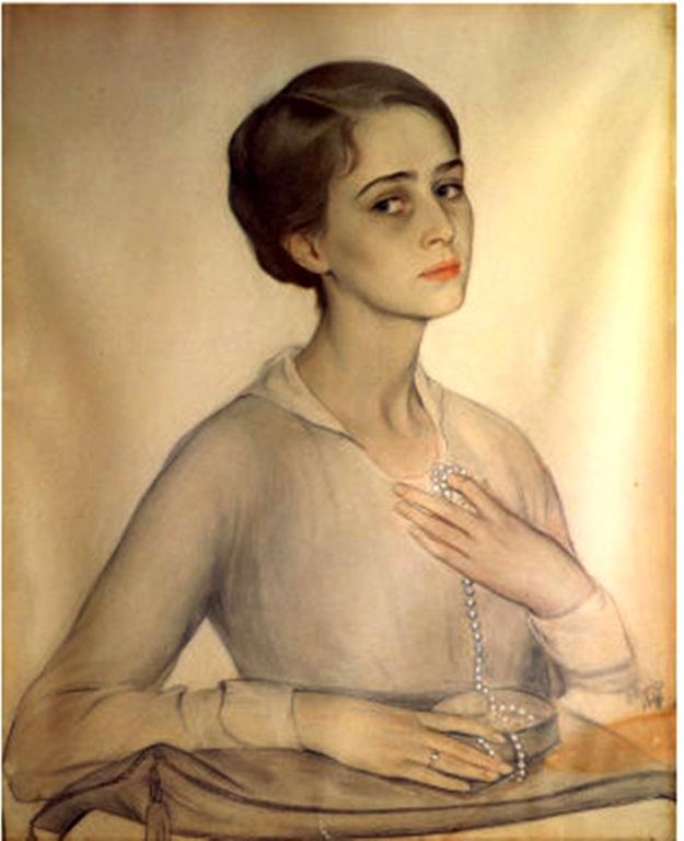 79 Портрет Ольги Спесивцевой -1917 акв.,бел,сангина, пастель на бум.68x55 Муз. М.Глинки Москва