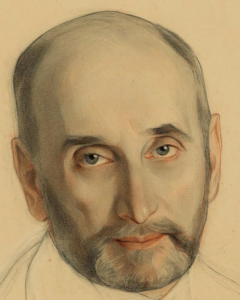 Портрет А. Сазонова   1917 бум. смеш. техн. 58х44 фрагмент