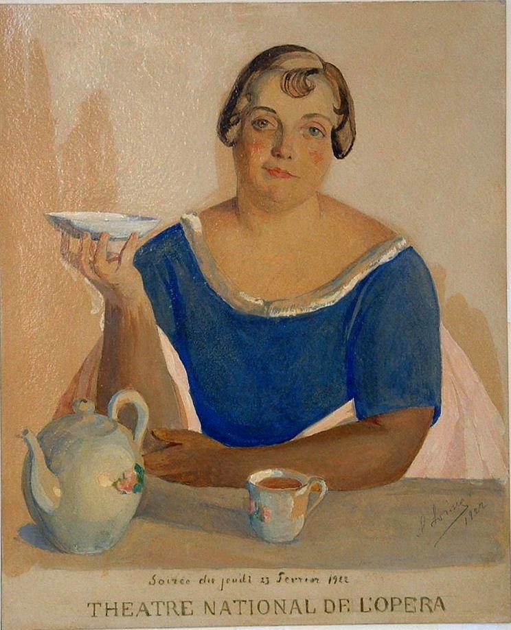 Женщина за чайным столом(Эск. афиши благотв. вечера) 1922 бум., кар, акв., белила 37Х30 из коллекции Цетлиных Рамат-Ган Израиль