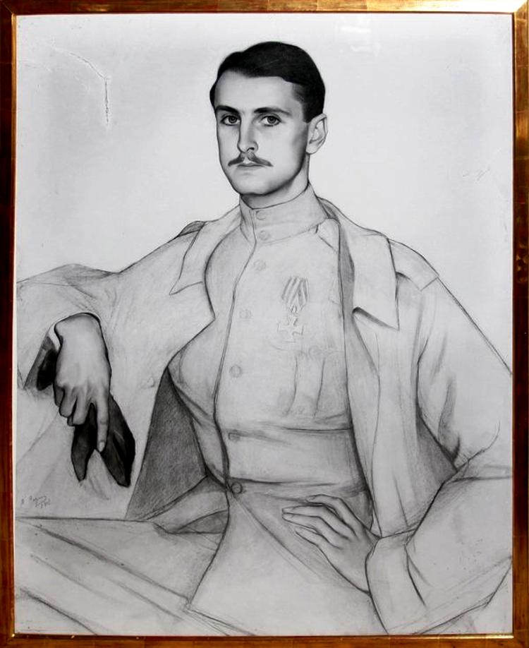 Портрет Сергея Оболенского 1917 рисунок