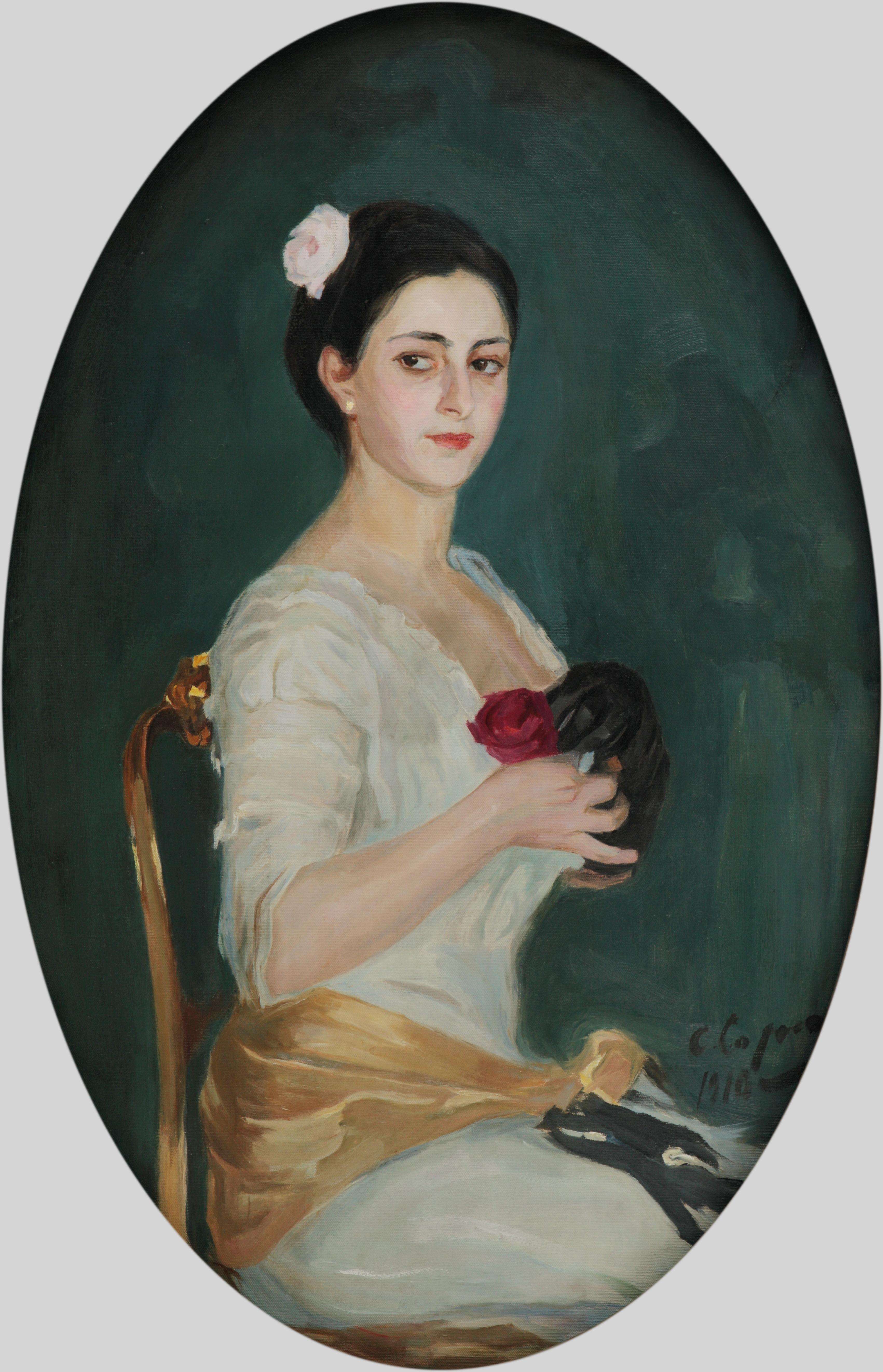 Портрет женщины с розами  1910 х.м. 106Х70 (овал) Картина из корпоративной коллекции Белгазпромбанка приобретена у частного коллекционера в СПб.