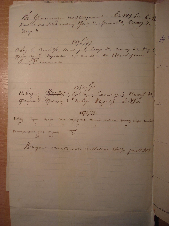 Обложка и страницы ученического дела С. Сорина